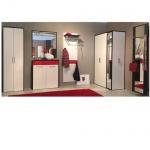 Wittenbreder Multi-Color WOOD, 3-teilige Garderobenkombination bestehend aus Mehrzweckschrank, Rahmenspiegel, beleuchtet und Garderoben-Paneel in Weiß matt und Wildeiche Bianco Furnier