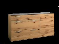 Wöstmann WSM 1400 Kombikommode Ausführung mit Astkernbuche Massivholz mit 1 Tür und 1 Schubkasten und 2 Auszügen mit Vollauszug und Abdeckblatt mit Mattglas-Akzent siena
