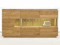 Wimmer acerro Sideboard Massivholz Glasfüllung und Eckglasfüllung für Wohnzimmer und Esszimmer