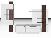 Gwinner Lucca dreiteilige Wohnwand LC3 oder spiegelseitig LC3-SV Wandkombination mit massivem Akzent für Wohnzimmer Beleuchtung, Akzent- und Farbausführung wählbar