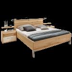 Disselkamp Cadiz Schlafzimmer Doppelbett Nachtkonsolen Wandsteckboards Korpus Balkeneiche Echtholz furniert Front Lack Sand abgesetzt mit Riffholz