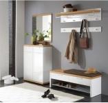 Voss-Möbel Burgos Garderoben Set 2 6-teilig Wildeiche Echtholz furniert Hochglanz weiß lackiert