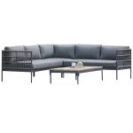 Niehoff Garden Azuri 4-teilige Loungegruppe bestehend aus Modul links Modul rechts Hocker und Loungetisch Design mit Kordelflechtung und Gestell in Aluminium Anthrazit inkl. Sitz- und Rückenkissen in Stoff basalt für Ihren Garten oder Terrasse