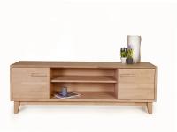 Standard Furniture Lowboard 4 aus dem Einzelmöbelprogramm Numero Uno Massivholz Kommode mit zwei Holztüren und offenem Fach TV-Element für Wohnzimmer Griffausführung Gestellvariante und Holzausführung wählbar