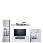 MCA Furniture Anbauwand Loreto 1 in weiß bestehend aus einer Vitrine einem Highboard einem Lowboard sowie einem Wandboard mit optionaler Beleuchtung ideal für Ihr Wohnzimmer