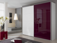 Rauch Packs Quadra Kleiderschrank Möbel Schwebetürenschrank Schrank 4x Glas Dekor wählbar für Schlafzimmer, Griffleisten alufarben