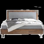 Hasena Factory-B Bett bestehend aus Bettrahmen Dallas 23-B Kopfteil Ohio-B Bettfüße Mico Stoffausführung Alpina lightgrey Holzausführung Akazie Vintage brown Liegefläche ca. 180x200 cm