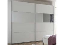 Rauch Packs Quadra Kleiderschrank Möbel Schwebetürenschrank Schrank 2x Spiegel Dekor wählbar für Schlafzimmer, Griffleisten alufarben