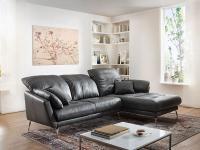 Willi Schillig Softy Plus 12311 Solano Eckcouch mit Longchair rechts und 2 Sitzer Sofa groß mit Kopfstützensverstellung Seitenteilkissen und chromglänzenden Metallfüßen Bezug wählbar