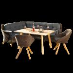 Niehoff Garden Nizza Loungegruppe mit Dining-Lounge und zwei Stühlen mit Geflecht in Viro red pine und mit Tisch in Teak Massivholz 6-teiliges Lounge-Set inkl. Sitz- und Rückenkissen in Stoff Sunproof basalt für Ihren Garten oder Terrasse
