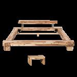 Massivholzbett Cali in Akazie massiv von Neue Modular ca 180 cm x 200 cm inklusive 1x Nachtkonsole komplett Futonbett mit Kopfteil Bettgestell Doppelbett ***AM LAGER***