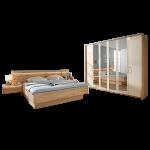 Disselkamp Cadiz Schlafzimmer Doppelbett hängende Nachtkonsolen mit Paneelaufsatz Drehtürenkleiderschrank Bettschubkästen wählbar Balkeneiche Echtholz furniert mit Absetzungen in Riffholz