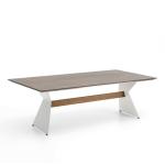Niehoff Garden Nero Designtisch T1G4 mit HPL-Tischplatte und Winkelwangen Stahl edelstahlfarbig mit Teaksteg für Ihren Garten Größe und HPL-Ausführung wählbar