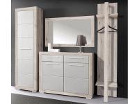 FORTE Atrium Garderobe ATRD02 für Ihren Flur Garderobenset 4-teilig mit 1 Kleiderschrank 1 Schuhschrank 1 Kleiderpaneel und 1 Spiegel Korpus Sandeiche Dekor Front Weiß Hochglanz kombiniert mit Sandeiche Dekor