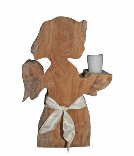 Engel aus Teakholz, ca. 30 cm hoch, Dekoration, Holz Figur, Teak unbehandelt