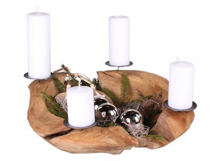 Adventskranz aus Teakholz, Ø 50 cm, Weihnachtsdekoration modern, Holzschale