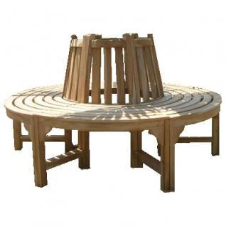 komplette volle Baumbank aus Teakholz Massivholz Holzbank Gartenbank ca. 150 cm breit Sitzbank