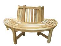 Teakholz 1/2 Baumbank halbe Bank massiv Teak Holz ca. 180 cm natur Teakbank Gartenbank