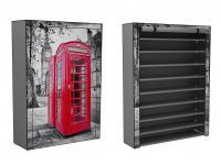 Stoffschrank Schuhschrank Schuhregal mit roter Telefonzelle Motiv London schwarz weiß 9 Fächer