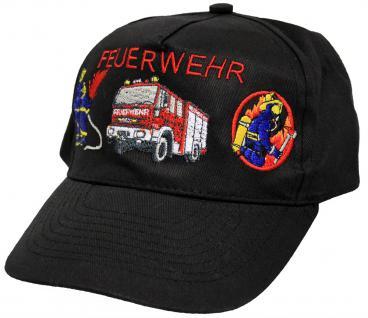 Feuerwehr-Basecap mit aufwendiger Einstickung - Feuerwehrmann Löschzug Feuerwehrauto - 168176 schwarz - Baumwollcap Baseballcap Schirmmütze Hut