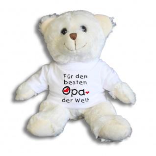 Teddybär mit Shirt - Für den besten OPA der Welt - Größe ca 26cm - 27031/1 weiß