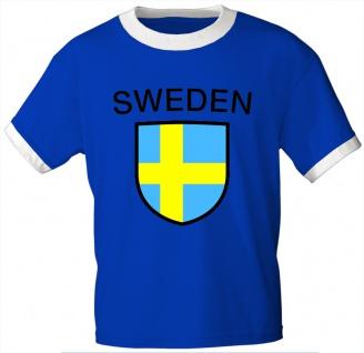 T-Shirt mit Print - Fahne Flagge Wappen Sweden Sweden - 76462 royalblau Gr. S