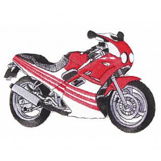 AUFNÄHER - Motorrad rot-weiß - 08504 - Gr. ca. 16 x 4 cm - Patches Stick Applikation