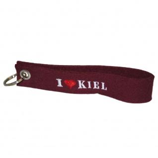 Filz-Schlüsselanhänger mit Stick I love Kiel Gr. ca. 17x3cm 14319 bordeaux