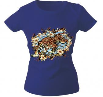 Girly-Shirt mit Print - Tiger - 10973 - versch. farben zur Wahl - Gr. S-XXL Royal / XS