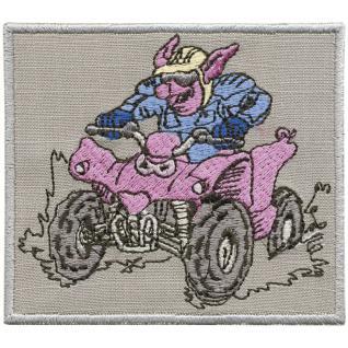 Aufnäher - Quadfahrer Schwein - 88637 - Gr. ca. 8 x 11 cm - Patches Stick Applikation