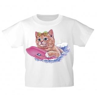 Kinder T-Shirt mit Print Cat Katze auf Surfbrett KA074/1 Gr. weiß / 122/128 - Vorschau