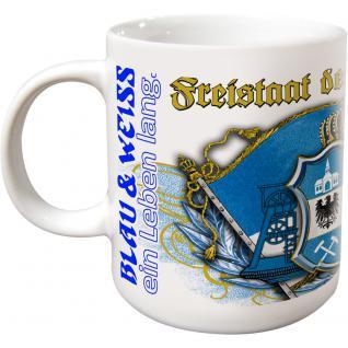 Keramiktasse Tasse mit Print Freistaat Schalker blau-weiß ein Leben lang 57389
