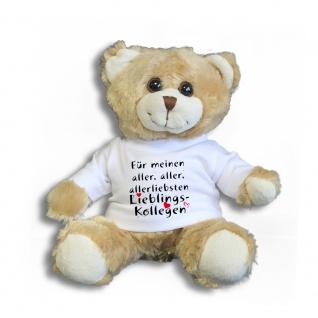Teddybär mit Shirt - Für meinen aller, aller, allerliebsten Lieblings-Kollegen - Größe ca 26cm - 27173 hellbraun