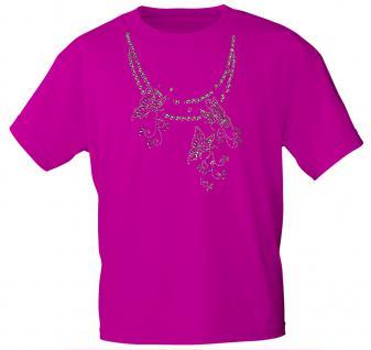 (12852) T- Shirt mit Glitzersteinen Gr. S - XXL in 13 Farben M / Pink