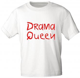 Kinder T-Shirt mit Druck - DRAMA QUEEN - 06942 - weiß - Gr. 110/116