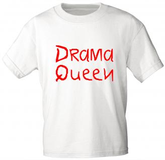 Kinder T-Shirt mit Druck - DRAMA QUEEN - 06942 - weiß - Gr. 152/164