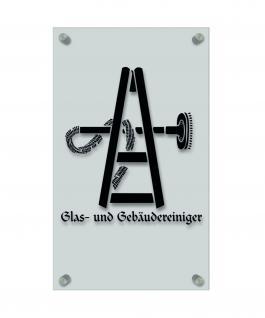 Zunftschild Handwerkerschild - Glas und Gebäudereiniger - beschriftet auf edler Acryl-Kunststoff-Platte ? 309406 schwarz