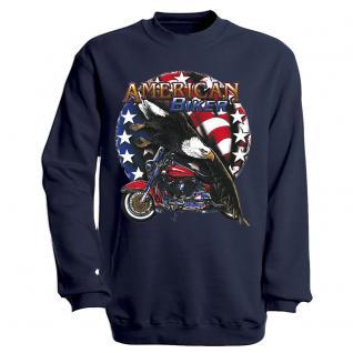 """Sweat- Shirt mit Motivdruck in 7 Farben """" Amercan Biker"""" S12662 XL / Navy"""