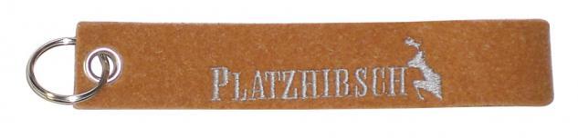 Filz-Schlüsselanhänger mit Stick Platzhirsch Gr. ca. 19x3cm 14003 orange