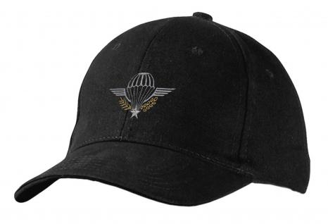 Baseballcap mit Stick - Emblem Abzeichen Military Fallschirm - 68451 schwarz - Cap Kappe Baumwollcap