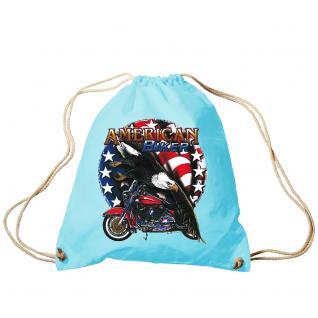 Trend-Bag Turnbeutel Sporttasche Rucksack mit Print - American Biker - TB12661 hellblau