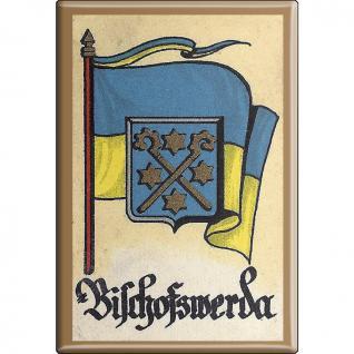 Küchenmagnet - Wappen Bischofswerda - Gr. ca. 8 x 5, 5 cm - Magnet Kühlschrankmagnet
