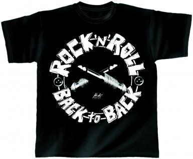T-Shirt unisex mit Print - Back to Back - von ROCK YOU MUSIC SHIRTS - mit zweiseitigem Motiv - 10365 schwarz - Gr. S