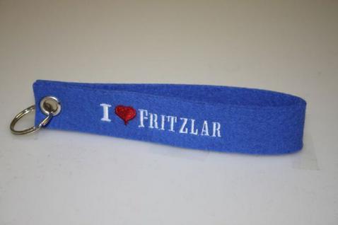 Filz-Schlüsselanhänger mit Stick I love Fritzlar Gr. ca. 17x3cm 14314 blau