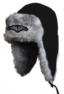 Chapka Fliegermütze Pilotenmütze Fellmütze in schwarz mit 28 verschiedenen Emblemen 60015-schwarz Tribal 2