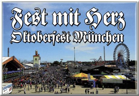 Küchenmagnet - FEST mit HERZ - Oktoberfest München - Gr. ca. 8 x 5, 5 cm - 38160 - Küchenmagnet