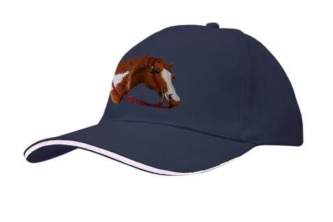 Baseballcap mit Pferde - Stick - Pferdekopf - 69242 türkis navy rosa - Baumwollcap Hut Schirmmütze Cappy Cap