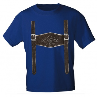 Kinder T-Shirt mit Print - Lederhose Hosenträger - 08632 Gr. 68-164 Royal / 74