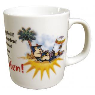 Tasse Kaffeebecher mit Print Spruch Urlaub... 57181 weiß