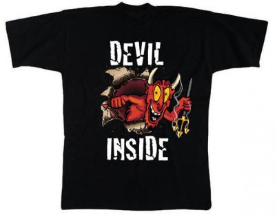 T-Shirt unisex mit Aufdruck - DEVIL INSIDE - 09515 - Gr. S